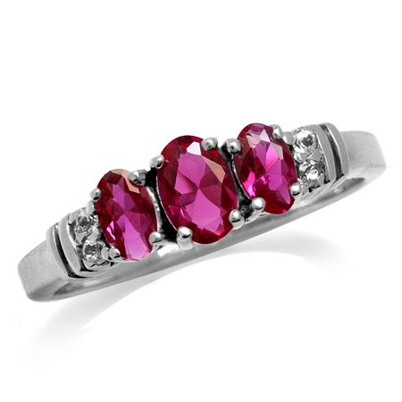 3-Stone Simulated Ruby & White CZ Gold Plated 925 Sterling Silver Ring