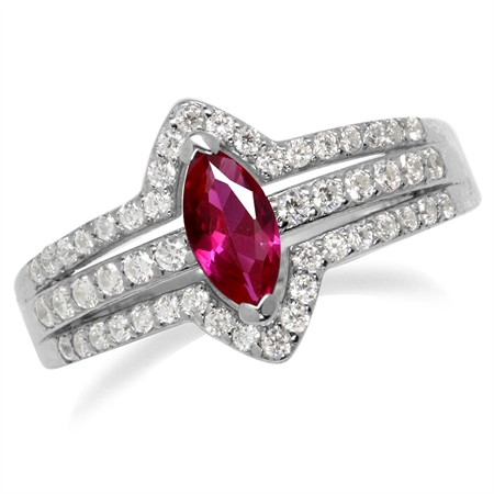 Synthetic Red Ruby White Gold Plated 925 Sterling Silver Engagement Ring
