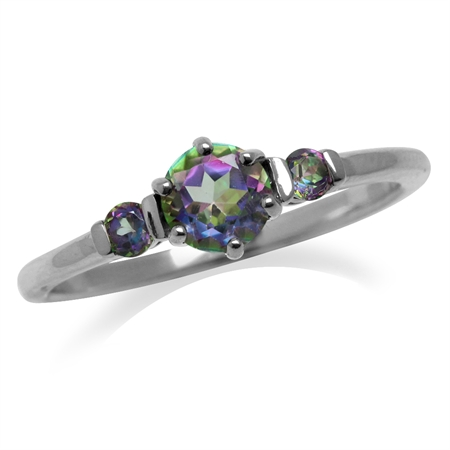 Petite 3-Stone Mystic Fire Topaz White Gold Plated 925 Sterling Silver Ring