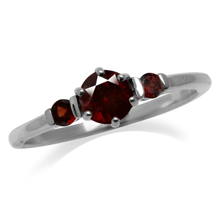 Petite 3-Stone Natural Garnet White Gold Plated 925 Sterling Silver Ring