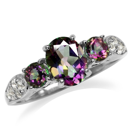 2.12ct. 3-Stone Mystic Fire Topaz White Gold Plated 925 Sterling Silver Ring