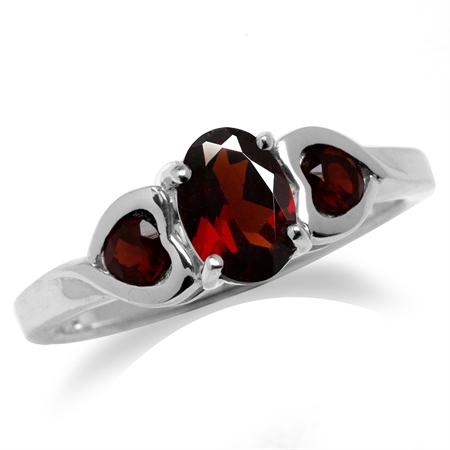 1.28ct. 3-Stone Natural Garnet Gold Plated 925 Sterling Silver Engagement Heart Ring