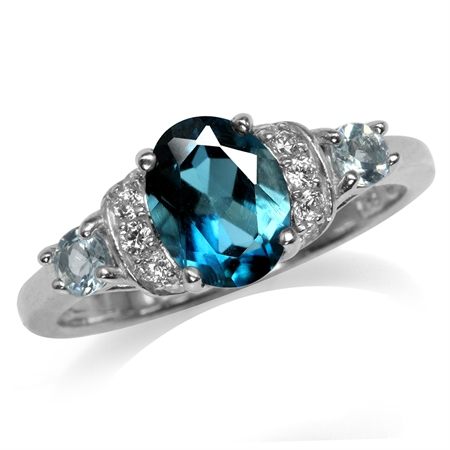 1.43ct. Genuine London Blue Topaz White Gold Plated 925 Sterling Silver Right Hand Ring