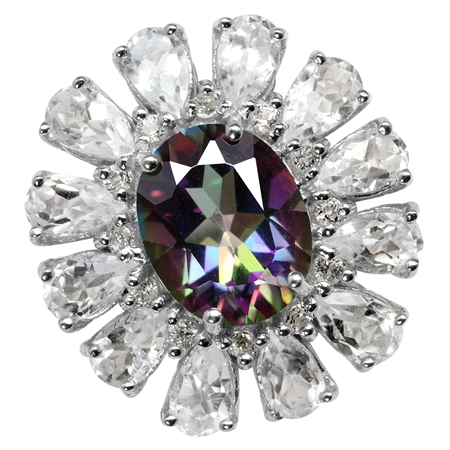 3.13ct. Mystic Fire Topaz Gold Plate 925 Sterling Silver Cluster Cocktail Ring