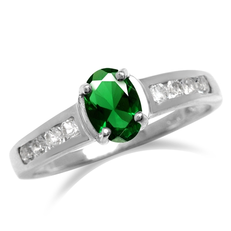 Emerald Green CZ White Gold Plated 925 Sterling Silver Engagement Ring