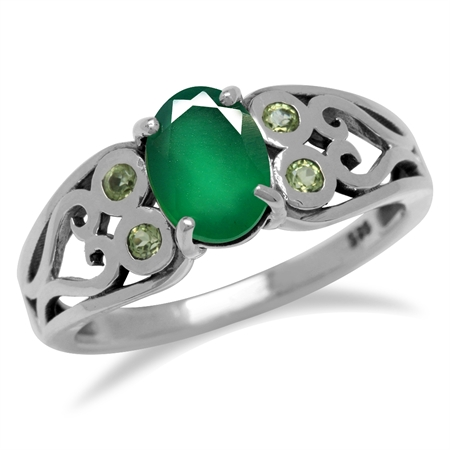 1.06ct. Natural Emerald Green Agate 925 Sterling Silver Filigree Victorian w/Antique Finishing Ring