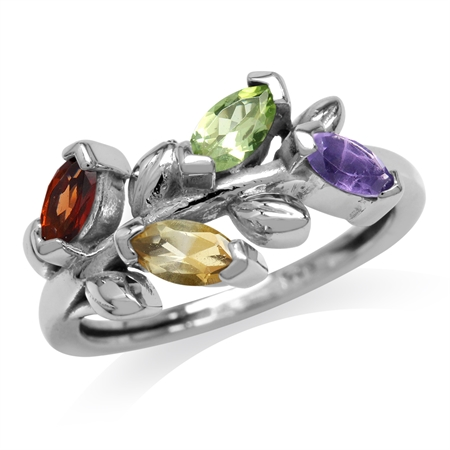 Natural Garnet, Citrine, Peridot & Amethyst 925 Sterling Silver Flower & Leaf Vintage Inspired Ring