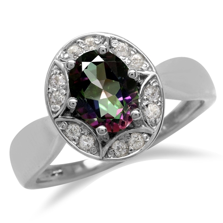 1.5ct. Mystic Fire Topaz 925 Sterling Silver Sun Ray Inspired Filigree Ring
