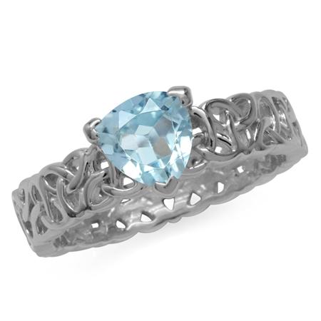 1.44ct. Genuine Trillion Shape Blue Topaz 925 Sterling Silver Triquetra Celtic Knot Eternity Ring