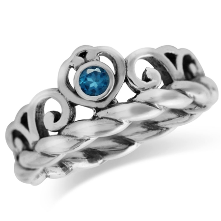 Genuine London Blue Topaz 925 Sterling Silver Victorian Style Crown Rope Band Ring