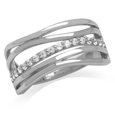 5-Line Ribbon White Gold Plated 925 Sterling Silver CZ Ring