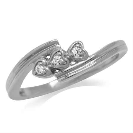 Triple CZ Hearts White Gold Plated 925 Sterling Silver Promise Ring