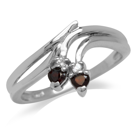 Garnet & White Topaz Gold Plated 925 Sterling Silver Bypass Point Ring