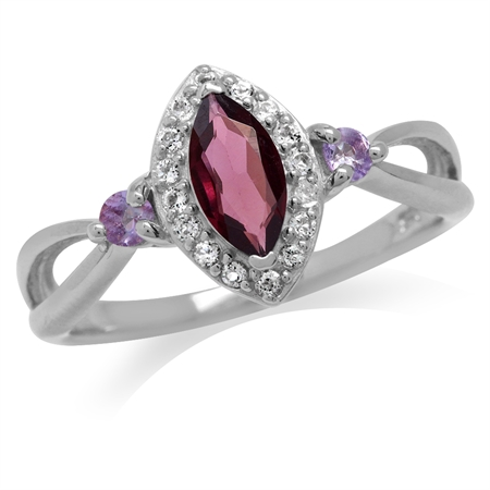 Natural Rhodolite Garnet & Amethyst White Gold Plated 925 Sterling Silver Promise Ring