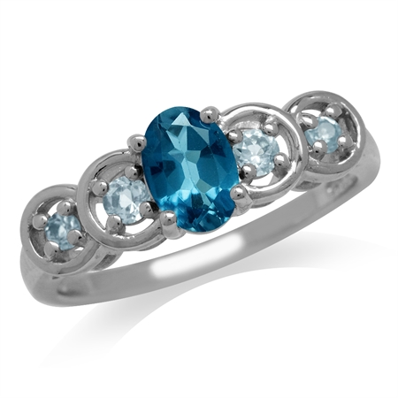 Genuine London Blue Topaz White Gold Plated 925 Sterling Silver 5-Stone Journey Ring