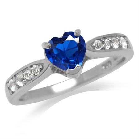 Heart Shape Synthetic Blue Sapphire Gold Plated 925 Sterling Silver Classic Engagement Ring