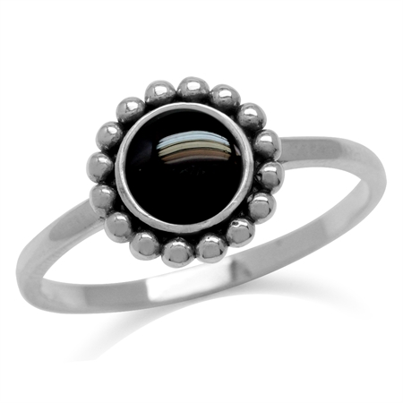 6MM Created Round Shape Black Onyx 925 Sterling Silver Bali/Balinese Style Ring