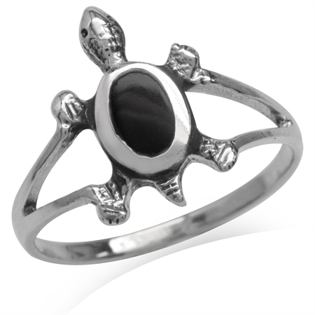 Created Black Onyx Inlay 925 Sterling Silver w/Antique Finishing Turtle Casual Ring
