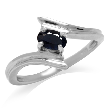 Natural Black Sapphire White Gold Plated 925 Sterling Silver Bypass Solitaire Ring