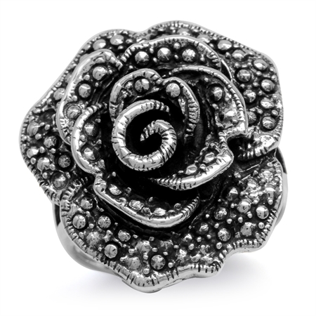 925 Sterling Silver w/Antique Finishing Rose/Flower Ring