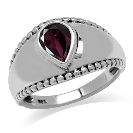 1.33ct. Natural Rhodolite Garnet Antique Finish 925 Sterling Silver Solitaire Ring