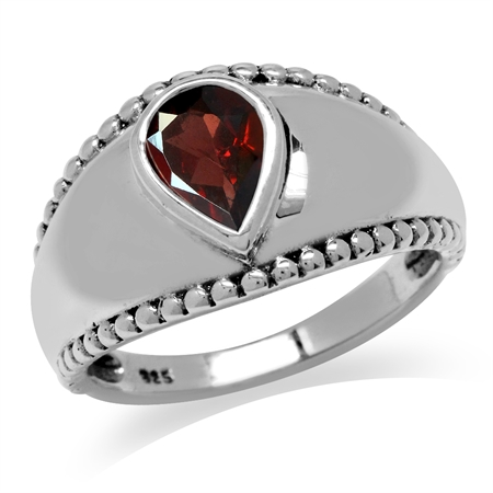 1.12ct. Natural Garnet Antique Finish 925 Sterling Silver Solitaire Ring