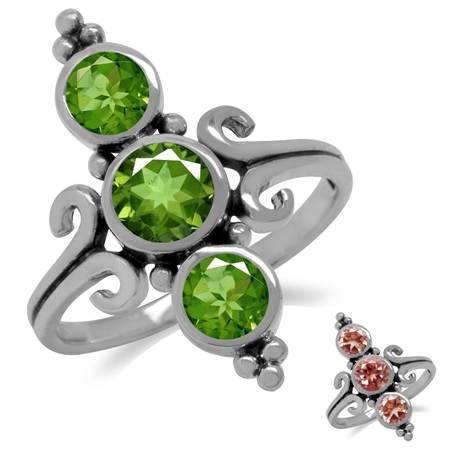 3-Stone Synthetic Color Change Diaspore 925 Sterling Silver Balinese w/Antique Finishing Ring