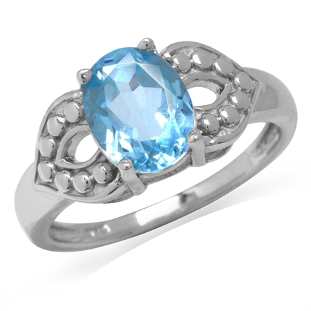 2.17ct. Genuine Blue Topaz White Gold Plated 925 Sterling Silver Dots Pattern Ring
