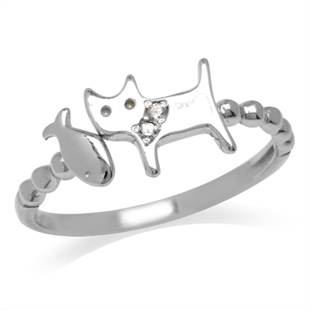 CZ White Gold Plated 925 Sterling Silver Cat Pet w/ Fish Casual Teens/Girls Ring