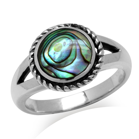 9MM Round Shape Abalone/Paua Shell Inlay 925 Sterling Silver Rope Solitaire Ring