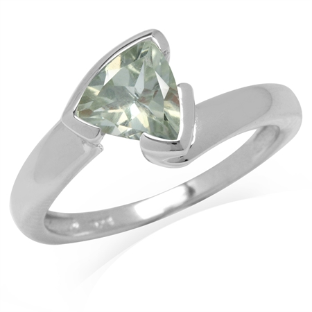 1.04ct. Trillion Shape Natural Green Amethyst White Gold Plated 925 Sterling Silver Ring