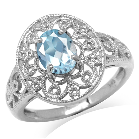 1.43ct. Genuine Blue Topaz White Gold Plated 925 Sterling Silver Victorian Style Filigree Ring