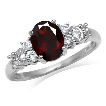 2.05ct. Natural Garnet & White Topaz 925 Sterling Silver Engagement Ring