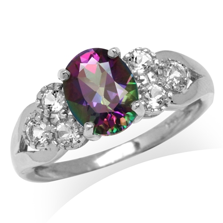 2.2ct. Mystic Fire Topaz White Gold Plated 925 Sterling Silver Engagement Ring