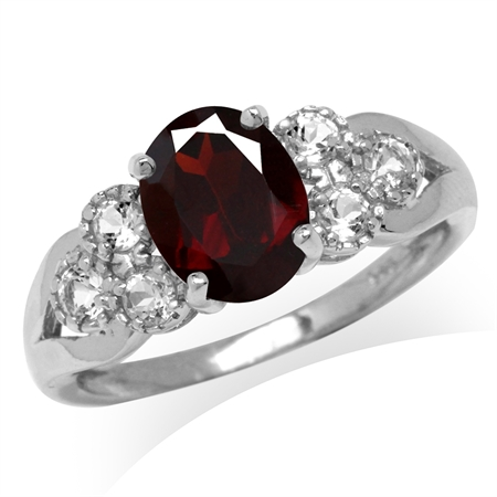 2.05ct. 9x7MM Natural Oval Shape Garnet & White Topaz 925 Sterling Silver Engagement Ring