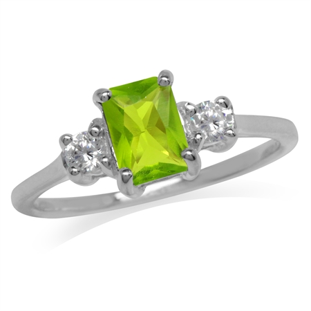 Peridot Green & White CZ 925 Sterling Silver Engagement Ring