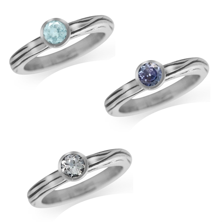 Genuine Tanzanite & Topaz 925 Sterling Silver 3-Pc Stack/Stackable Textured Band Ring