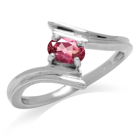 Natural Pink Tourmaline White Gold Plated 925 Sterling Silver Bypass Solitaire Ring