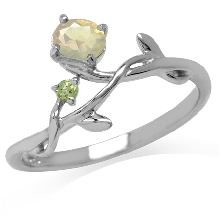 Genuine Opal & Peridot White Gold Plated 925 Sterling Silver Vine Leaf Ring