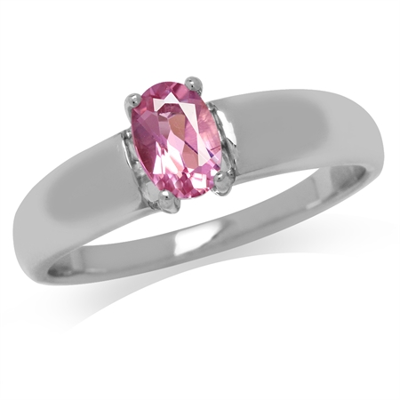 Natural Pink Tourmaline White Gold Plated 925 Sterling Silver Solitaire Ring