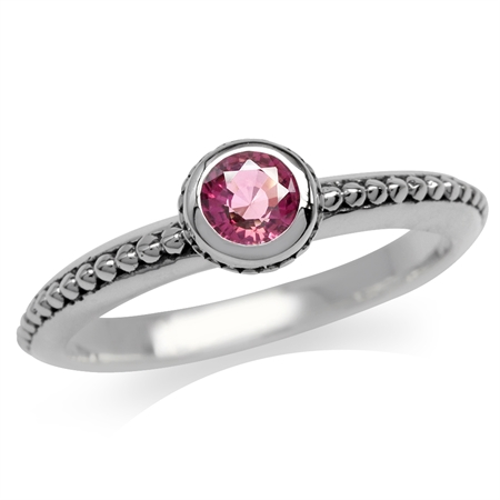 Natural Pink Tourmaline 925 Sterling Silver Stack/Stackable Bali/Balinese Style Ring