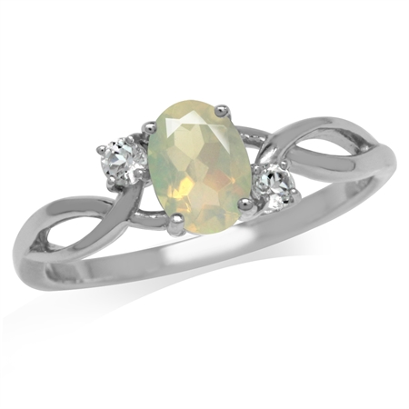 Genuine Opal & White Topaz Gold Plated 925 Sterling Silver Engagement Ring