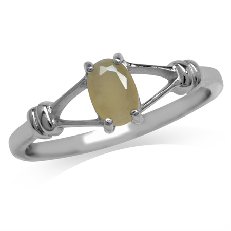 Oval Shape Genuine Opal 925 Sterling Silver Solitaire Ring