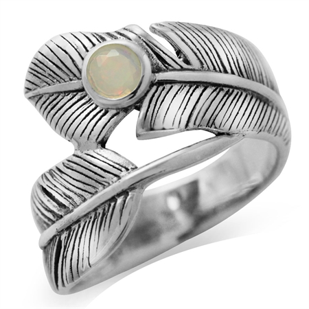 Genuine Opal Antique Finish 925 Sterling Silver Bypass Feather Ring