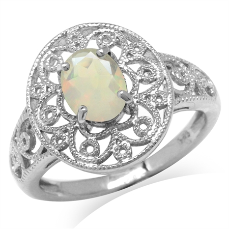 Genuine Opal White Gold Plated 925 Sterling Silver Victorian Style Filigree Ring