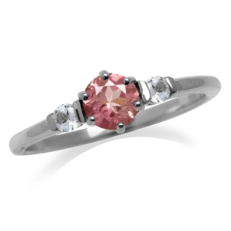 Petite Natural Pink Tourmaline VS1-VS2 White Gold Plated 925 Sterling Silver Promise Ring