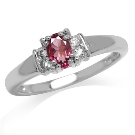Natural Pink Tourmaline VS1-VS2 Gold Plated 925 Sterling Silver Engagement Ring