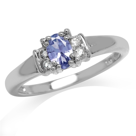 Genuine Tanzanite & White Topaz Gold Plated 925 Sterling Silver Engagement Ring
