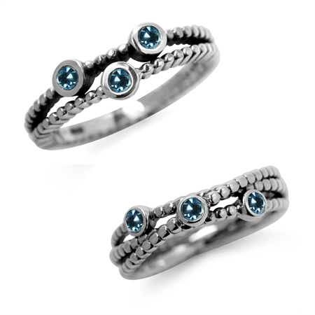 3-Stone Genuine London Blue Topaz 925 Sterling Silver 2-Pc Set Stack/Stackable Ring