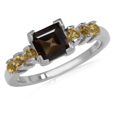 1.24ct. 6MM Natural Square Shape Smoky Quartz & Citrine 925 Sterling Silver Engagement Ring